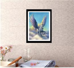 ponto de cruz do unicórnio Desconto DIY Pinturas de Diamante Redonda Ponto Cruz Sem Moldura Céu Azul Pegasus Unicorn Sala de estar Decoração 9 5tz C R