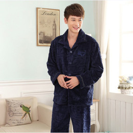 Wholesale mink fashion clothing - Fall and Winter Men's Flannel Pajamas Sets Fashion Casual Thicken Sleepwear Velvet Mink Cashmere Men's Clothing Large Size