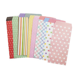 Wholesale scrapbooking dots - 5 Pcs lot 195x85mm Cute Dots Striped Fresh Paper Envelope Creative DIY Tool Greeting Card Cover Scrapbooking Gift