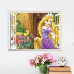 Casa del fiore 3d online-Decalcomanie della parete della casa della decorazione della casa della farfalla del fiore dell'albero della principessa del fiore della principessa 3D chiaro per la decorazione della parete