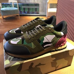 Wholesale buff black - 2018valentino Garavani Multicolor Camouflage Camo Rockrunner Sneakers Trainer Low-Top Canvas Buffed Leather, and Suede Casual Shoes