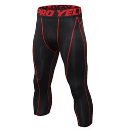 6a8ccd3a47 Running Base Man Compression Gym Pants Layers Skins Tights Running Pants  Men's 7 points quick dry Plus Size