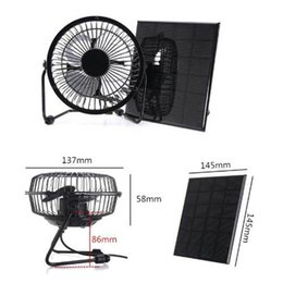 Wholesale 3w Solar Panel - High Quality 3W 6V 4 Inch Cooling Ventilation Fan USB Solar Powered Panel Iron Fan For Home Office Outdoor Traveling Fishing