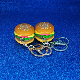 food keychains Promo Codes - 3D Resin Hamburger Keychain Mini Food Hamburger Key Chain Gold Carabiner Keychains Key Ring Holds Hangbag Hangs Promotion Gift Drop shipping