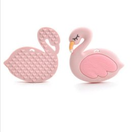 Wholesale baby toys pram - Silicone Flamingo Teether Teething Baby Pram Toy Pacifier Clips Pendent Baby Chew Beads Nursing Teether Infant Toddlers KKA3809