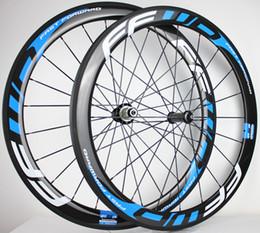 vélo noir mat Promotion Roues de carbone tubulaires bleu noir 30mm 700C à tringle de roue de freinage de basalte de roues de vélo de route 3k / UD chinois en stock
