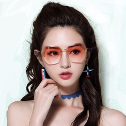 b5cdc846e28 Sunglasses female polygons irregular frameless cut edges gradual change  anti ultraviolet net red round face transparent big frame sung