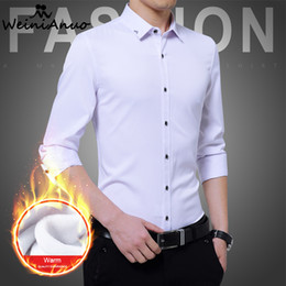 Wholesale Thickening Plaid Shirt - WEINIANUO Men's Slim Shirts Autumn Winter Thickening Warm Plaid Men Long Sleeves Dress Shirt Male Business Dress Shirt M-5XL 295