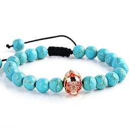 Бразильский браслет из розового золота онлайн-Natural Blue Stone  Bracelet Cross Rose Gold Skeleton Skull Vintage Charms Women's Jewelry Yoga Bracelets Men Fashion Gifts