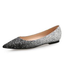 Wholesale Silver Bling Pumps - Women Bling Flat Heel Women Pumps Glitter Flat Heel Shoes Woman Sexy Wedding Shoes Gold Silver