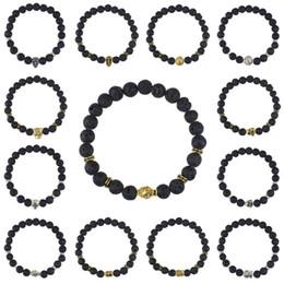 Wholesale gold skull head bracelets - Men Women 15 Styles Gold Silver Plated Skull Lion Buddha head Buddha Beads Lava Energy Stone Beads Stretch Bracelet H247Q