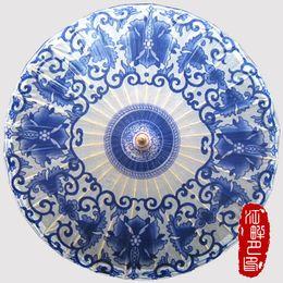 Wholesale Japanese Oil - Chinese Blue and White Flower Sun Parasols Umbrella Women Traditional Dance Parasol Japanese Oil Paper Props paraguas