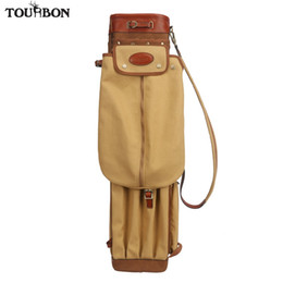 Cubierta del club del vintage online-Tourbon Vintage Golf Club Bag Carrier Lápiz Estilo Lienzo de cuero Golf Gun Bags W / Pockets Clubs Interlayer Cover 90CM