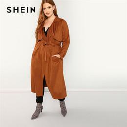 8a99e7f0af7 cinturón de gamuza marrón Rebajas SHEIN Marrón Tallas grandes con cinturón  de cintura ancha de las