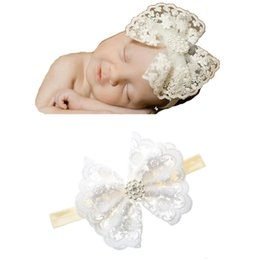 Wholesale White Lace Hair Bows - Baby girl Hair bows White Lace Headbands Wedding party Hair accessories Pearls Photography 2018