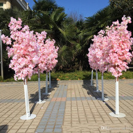 led tree blossoms 2018 - Wedding Props Artificial Cherry Blossom Tree Lead Road Roman Column Parties Decor Multi Colors Romantic Iron Art Shelf 36yl ii