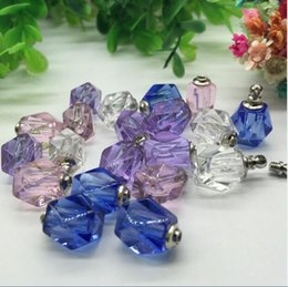 crystal perfume bottle wholesale Promo Codes - 50pieces 10*15mm screw cap rhombus vial pendant Miniature Perfume bottle mixed color Crystal pendant charms name or rice art