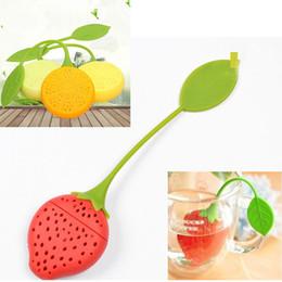 Té de hojas de fresa online-Mini Tea Colador Silkone Teabag Tea Leaf Colador Infuser Tetera Teacup Bolsa de Filtro de Fresa de Limón Herramientas de Filtro de Estilo WX9-480