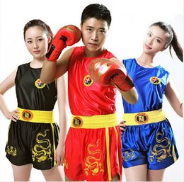 muay thai sanda Promo Codes - Dragon Kids Children Women Mens Boxing Shorts + Tank Tops Wushu Sanda Muay Thai Boxeo Mma Taekwondo Sport Training Uniforms Boys Girls