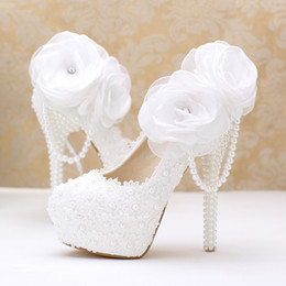 Wholesale Woman Shoes Bridal Flat - Pearls Crystals Wedding Shoes White Custom Made Size 10 cm 12cm 14cm High Heel Bridal Shoes Party Prom Women Pumps Free Shipping