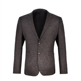 Chaqueta de negocios online-VOBOOM Mens Blazer Suit Woolen Tweed Suit Coat Otoño Invierno Jacket para Bussiness Wedding Party 9872
