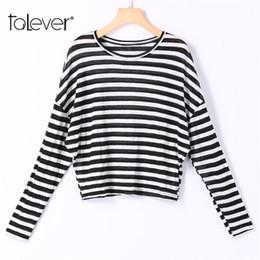 Wholesale korean basic t shirt - 2018 Fashion Women Casual Striped Shirt O-Neck Long Falling Sleeves Tee Tops Female Basic Korean Style T-shirt Plus Size Talever