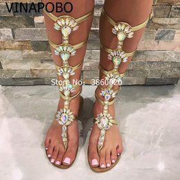 9304b413d2f29 Bohemia Flat Clip Toe Sandals Summer Bling Bling Crystal Decor Women s Shoes  Ankle Rhinestone Knee High Gladiator Sandals Boots