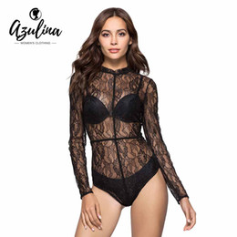 3947f16f03b 20187 AZULINA Sexy Long Sleeve See-Through Women Lace Bodysuit Rompers  Women Jumpsuit 2018 New Summer Solid Bandage Nightclub Overalls