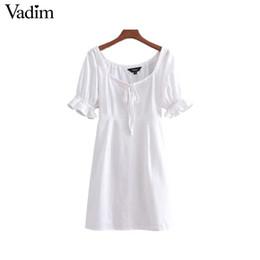 bd380a55a8870f schwarzes kleid weißer kragen kurzarm Rabatt Vadim Frauen Vintage  gekräuselten festen Kleid Fliege Quadrat Kragen Kurzarm