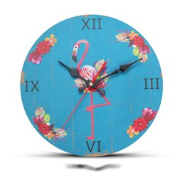 Argentina 12 Inch Ins Style Flamingo Pattern Wall Clock Natural Wooden Hanging Wall Watch Clocks Mute Needle Quartz Clocks Home Decoration Suministro