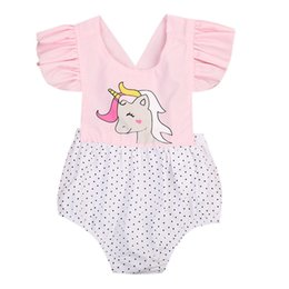 Wholesale Boys Christmas Outfit 2t - Newborn Baby Girls Floral Unicorn Romper Jumpsuit Outfits Sunsuit Children Toddler Girl Flower Cute Print Summer Rompers 0-2T