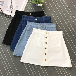 Wholesale Pocket Pencil Skirt - Summer Womens ladies A-line Pencil Jeans Skirt Front Button High Waist Denim small pockets Skirt black white Four colors