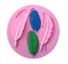 Wholesale Diy Fondant - Feathers chocolate DIY fondant cake decorating tools lace border silicone mold kitchen