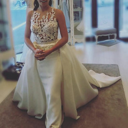 Wholesale graceful plus size wedding dress - Elegant Satin Mermaid Wedding Dresses With Detachable Overskirt 2018 Beads Lace Applique Bridal Dress Graceful Plus Size Wedding Dress