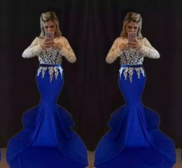 Wholesale Classic Western Dress - 2018 Sexy Elegant Long Sleeves Lace Evening Gowns Royal Blue Western Country Woman Dress Long Sleeves Prom Formal Dresses Mermaid