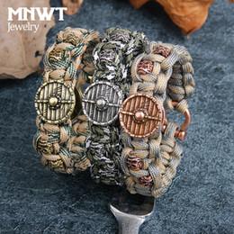braccialetto in rame tessuto Sconti MNWT mano tessuto ombrello corda camouflage rame cranio testa timone braccialetto semplice moda casual sportivo unisex gioielli braccialetto