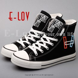 Wholesale Rock Band Shoes - E-LOV High Top Men Black Canvas Shoes Printed Rock Band Casual Flat Shoes Outdoor Walking Shoe Plus Size