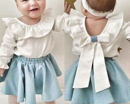 Wholesale Childrens Blouses - 2018 childrens clothes kids clothing sets baby girls peter pan collar t shirts ruffle white tops blouse + light blue skirts toddler outfits
