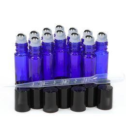 2019 perfume de cobalto 12 Vazio 10 ml Cobalt Blue Glass Rolo de óleo essencial em garrafas com bola de rolo de aço inoxidável para perfume 3 ml conta-gotas incluído perfume de cobalto barato