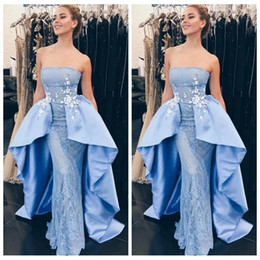 Wholesale Elegent Evening Dresses - 2018 Elegent Light Blue Lace Prom Dresses Long Sexy Backless Evening Gown Party Gowns Vestidos De Fiesta
