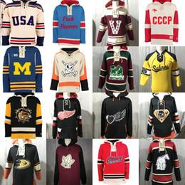 Jersey de la sudadera con capucha del hockey de detroit online-Hockey Sudadera con capucha Jerseys 1980 CCCP Puck Bearers Mowgli Anaheim Ducks Detroit Red Wings Qshawa Generals 100% Stitch Hockey Jerseys