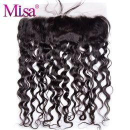 Lisa cheveux en Ligne-Mi Lisa Water Wave 13''x4 '' Fermeture frontale en dentelle avec des cheveux de bébé attachés à la main Swiss Lace Remy Hair Livraison gratuite 100% Human