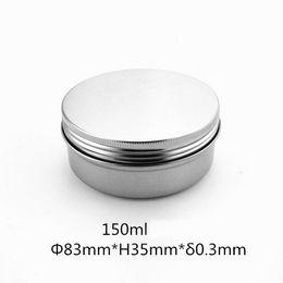 Lippentöpfe online-150 ml Aluminiumglas Leere Aluminium Kosmetikbehälter Topf Lippenbalsam Glasdose Für Cremesalbe Handcreme Verpackung Aluminium Box