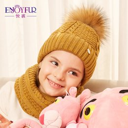 Wholesale Thick Knit Scarf Sets - ENJOYFUR Girls Hat And Scarf Set For Winter High Quality Cotton Knitted Soft Hat Girl Thick Boy Caps Children Baby Warm Set