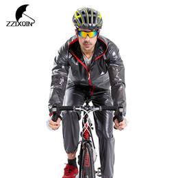Motocicleta equitación trajes hombres online-ZZIXQIN Actualizar Impermeable Impermeable Deportes Al Aire Libre Impermeable Hombres Mujeres Montar Motocicleta Traje Brillante Lluvia Jacke 2018