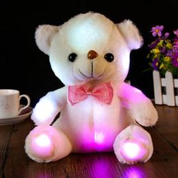 2019 panda peluche grandi Grande Panda Doll Bear Hug Farcito Giocattolo colorato LED Incandescente nel buio Flash Light peluche per la ragazza Bambino Bambini Natale regalo di nascita panda peluche grandi economici