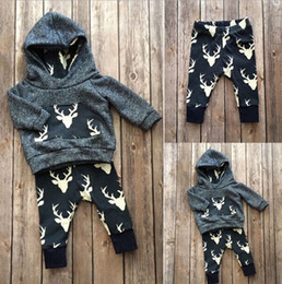 Wholesale Leopard Hot Pants - Hot Newborn kids toddler baby boy girl deer hooded tops hoddie+pants outfits set clothes 0-2T top quality