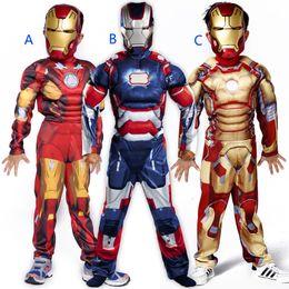 cosplay do músculo super-herói Desconto Meninos Halloween Homem de Ferro estilo muscular ternos Cosplay 2019 New Kids Avengers super-herói roupas Cosplay + máscara 2pcs conjuntos B001