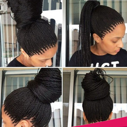 Parrucche piene piene di pizzo online-Parrucche nere intrecciate in pizzo nero con parrucchino e parrucche sintetiche
