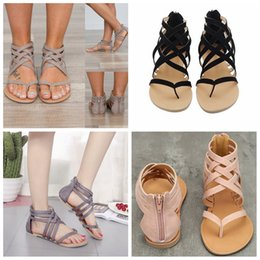 Wholesale wholesale gladiator heels - Women Flat Heel Clip Toe sandals Hollow Out Roman Ankle Sandals fashion lady shoes Chunky Heels Beach casual Shoes FFA576